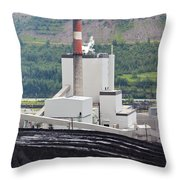 Coal Mine Electrical Energy Power Plant In Nature Throw Pillow