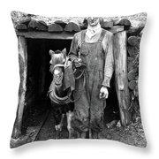 Coal Miner & Mule 1940 Throw Pillow