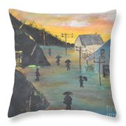 Coal Miners Village Throw Pillow