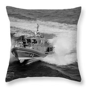 Coast Gaurd In Action In Black And White Throw Pillow