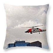 Coast Guard Chopper Over Boston Throw Pillow