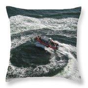 Coast Guard Ship - Port Of Los Angeles Throw Pillow