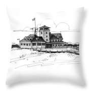 Coast Guard Station 2 Ocracoke 1970s Throw Pillow