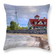 Coast Guard Station In Muskegon Throw Pillow