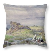 Coast Scene With Children In The Foreground, 19th Century Throw Pillow