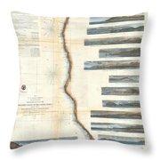 Coast Survey Chart Or Map Of California And Oregan North Of San Francisco Throw Pillow