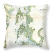 Coast Survey Chart Or Map Of The Chesapeake Bay Throw Pillow