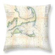 Coast Survey Map Of Cape Cod Nantucket And Marthas Vineyard Throw Pillow