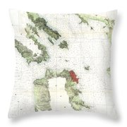 Coast Survey Map Of San Francisco Bay And City Throw Pillow