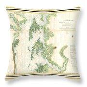 Coast Survey Map Of The Chesapeake Bay  Throw Pillow