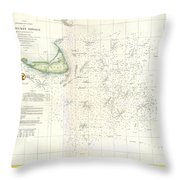 Coast Survey Nautical Chart Or Map Of Nantucket Massachusetts Throw Pillow