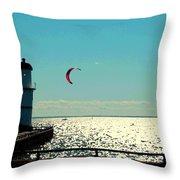 Coast To Coast Sea To Sky Flies Curiosity Crescent Kite Night Scenes On The Canal Carole Spandau Throw Pillow