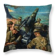 Coastal Battery Scene Artist Terence Cuneo Throw Pillow