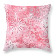 Coastal Decorative Pink Peach Floral Chevron Pattern Art Pink Whimsy By Madart Throw Pillow