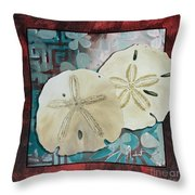 Coastal Decorative Shell Art Original Painting Sand Dollars Asian Influence I By Megan Duncanson Throw Pillow
