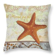 Coastal Decorative Starfish Painting Decorative Art By Megan Duncanson Throw Pillow