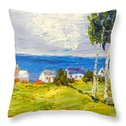 Coastal Fishing Village Throw Pillow