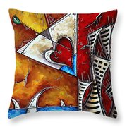 Coastal Martini Cityscape Contemporary Art Original Painting Heart Of A Martini By Madart Throw Pillow