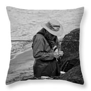 Coastal Salmon Fishing Throw Pillow
