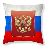 Coat Of Arms And Flag Of Russia Throw Pillow