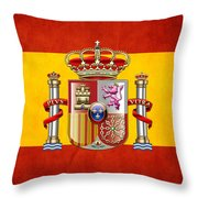 Coat Of Arms And Flag Of Spain Throw Pillow