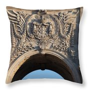 Coat Of Arms Of Portugal On Rua Augusta Arch In Lisbon Throw Pillow