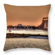Cobalt And Bridge Throw Pillow by Michael Thomas