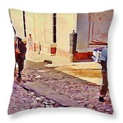 Cobble Stone Streets Of Cuba Throw Pillow
