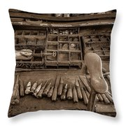 Cobblers Tools Bw Throw Pillow