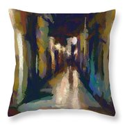 Cobblestone Nighttime Street Throw Pillow