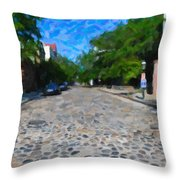 Cobblestone Street Throw Pillow