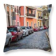 Cobblestone Streets Of San Juan Puerto Rico Throw Pillow