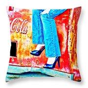 Coca-cola And Stiletto Heels Throw Pillow