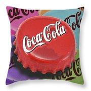 Coca-cola Cap Throw Pillow by Tony Rubino