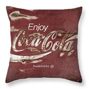 Coca Cola Faded Sign Throw Pillow