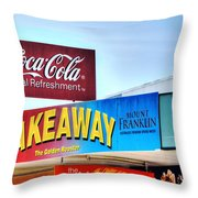 Coca-cola - Old Shop Signage Throw Pillow by Kaye Menner