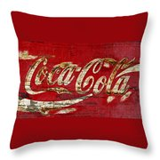 Coca Cola Sign Cracked Paint Throw Pillow
