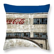 Coca Cola Sign On Old Factory Throw Pillow
