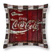Coca Cola Sign With Little Cokes Border Throw Pillow