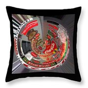 Coca Cola Signs In The Round Throw Pillow