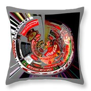 Coca Cola Signs In The Round Posterized Throw Pillow