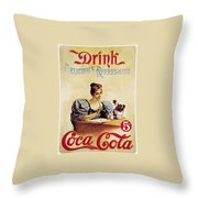 Coca - Cola Vintage Poster - Drink Delicious Refreshing Throw Pillow