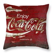 Coca Cola Wood Grunge Sign Throw Pillow