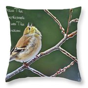 Cock-a-doodle Doo Gold Finch-with Verse Throw Pillow