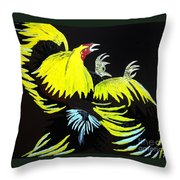 Cock Fight Or Flight Throw Pillow