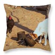 Cock N Goat Throw Pillow