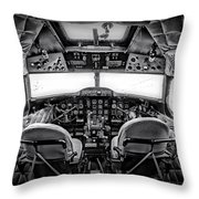 cockpit of a DC3 Dakota Throw Pillow