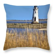 Cockspur Lighthouse In The Sanannah River Throw Pillow