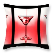 Cocktail Triptych In Red Throw Pillow