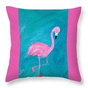 Cocky Flamingo Joe Throw Pillow
